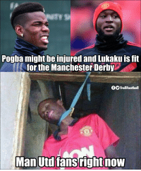 Memes, Manchester, and 🤖: Pogba might be injured and Lukaku is ft  for the Manchester Derby  fOTrollFootball  Man Double blow for Man Utd https://t.co/xkceuE67hV