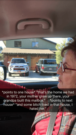 """Bitch, Grandma, and Grandpa: *points to one house* """"that's the home we had  in 1972, your mother grew up there, your  grandpa built this mailbox.""""*points to next  house* """"and some bitch lived in that house, I  hated her."""" Grandma always delivers."""