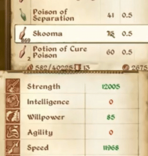 downwithtalos666: mortal godhood: Poison of  Separation  41 0.5  Skooma  0.5  Potion of Cure 60.5  Poison  2  0 5s2/40225 13  2675   Strength  Intelligence  Willpower  Agility  Speed  2005  85  11968 downwithtalos666: mortal godhood