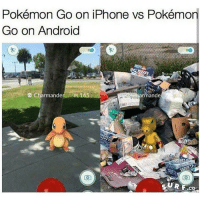 Pokémon Go on iPhone vs Pokémon  Go on Android  Charmander PL 165  mande  SURF SCO Let's see if this triggers android users in the comments 🙂