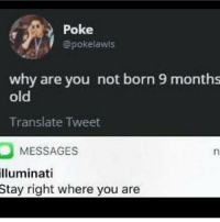 Birthday, Illuminati, and Translate: Poke  @pokelawls  why are you not born 9 months  old  Translate Tweet  MESSAGES  illuminati  Stay  right where you are <p>If this is the case then shouldn't your birthday be 3 months after your born</p>