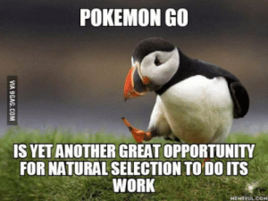 If you think about it: POKEMON GO  IS YET ANOTHER GREAT OPPORTUNITY  FOR NATURAL SELECTION TO DO ITS  WORK  MEMEFUL COM If you think about it