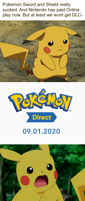 30 Dollar DLC for a subpar game? Oh boy, this can only be good.: Pokemon Sword and Shield really  sucked. And Nintendo has paid Online  play now. But at least we wont get DLC-  Direct  09.01.2020 30 Dollar DLC for a subpar game? Oh boy, this can only be good.