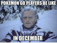 Pokemon, Player, and Com: POKEMONGO PLAYERS BELIKE  IN DECEMBER  flip com Can't stop won't stop.