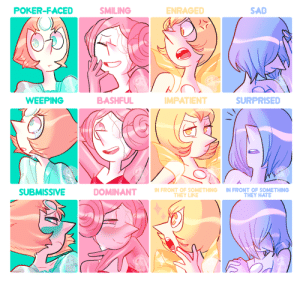 24cr:  redid that expression meme with the whole squad! now you can appreciate Pink Pearl and Pearl's expressions, haha.: POKER-FACED  SMILING  ENRAGED  SAD  BASHFUL  WEEPING  SURPRISED  MPATIENT  N FRONT OF SOMETHING IN FRONT OF SOMETHING  SUBMISSIVE  THEY HATE  THEY LIKE 24cr:  redid that expression meme with the whole squad! now you can appreciate Pink Pearl and Pearl's expressions, haha.