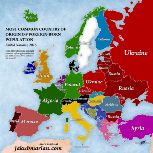land-of-maps:  Most common country of origin of foreign-born population [1260x1260]CLICK HERE FOR MORE MAPS! : Poland  MOST COMMON COUNTRY OF  ORIGIN OF FOREIGN-BORN  POPULATION  United Nations, 201S  Estonia  inla  Poland  (Note: The results remain unchanged  even when asylum applicants between  Jan. 2015 and June 2016 are taken  into account)  Ukraine  7  ussi  ssia  Russia  ted emnigdot'  Kngdomgdojm  Russia  India  tit  talyi  Poland Ukraine  Russia  ugal  Ukraine  zechia  aine  Algeria Germa  n n Germanyho,nania  omania  Bosni  Moldovda  osnta  osnt  roati  ain  Russia  osn  Romanta  hgola Morocco  Albani  Greece  Syria  11b  dom  more maps at  jakubmarian.com  United Kingdom land-of-maps:  Most common country of origin of foreign-born population [1260x1260]CLICK HERE FOR MORE MAPS!
