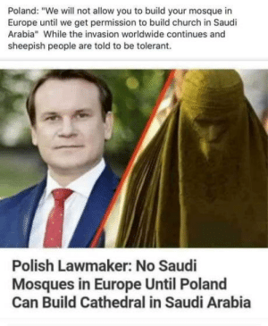 "laughoutloud-club:  Imagine cathedral in Saudi Arabia?: Poland: ""We will not allow you to build your mosque in  Europe until we get permission to build church in Saudi  Arabia"" While the invasion worldwide continues and  sheepish people are told to be tolerant  Polish Lawmaker: No Saudi  Mosques in Europe Until Poland  Can Build Cathedral in Saudi Arabia laughoutloud-club:  Imagine cathedral in Saudi Arabia?"