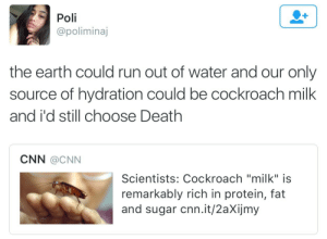 """cnn.com, Protein, and Run: Poli  @poliminaj  the earth could run out of water and our only  source of hydration could be cockroach milk  and i'd still choose Death  CNN @cNN  Scientists: Cockroach """"milk"""" is  remarkably rich in protein, fat  and sugar cnn.it/2aXijmy thenbhdofficial:  cockroach cummies"""