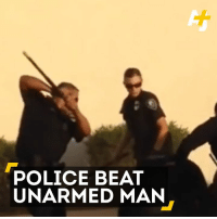 This unarmed man was beaten by 5 police officers and a dog after a dangerous car chase.: POLICE BEAT  UNARMED MAN This unarmed man was beaten by 5 police officers and a dog after a dangerous car chase.