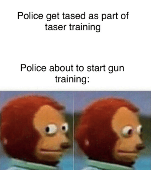 Guns go bang, tasers go buzz, lots of people get shot by the fuzz.: Police get tased as part of  taser training  Police about to start gun  training: Guns go bang, tasers go buzz, lots of people get shot by the fuzz.