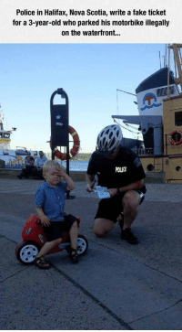 <p>But Officer, I Was Gone For Five Minutes.</p>: Police in Halifax, Nova Scotia, write a fake ticket  for a 3-year-old who parked his motorbike illegally  on the waterfront...  POLICE <p>But Officer, I Was Gone For Five Minutes.</p>
