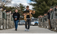 Members of the 436th Security Forces Squadron say farewell to retired military working K9 Rico as his former US Air Force handler carries him to the veterinary clinic; Rico was suffering from a spinal cord disease. https://t.co/9flMeGa66H: POLICE Members of the 436th Security Forces Squadron say farewell to retired military working K9 Rico as his former US Air Force handler carries him to the veterinary clinic; Rico was suffering from a spinal cord disease. https://t.co/9flMeGa66H