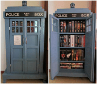 Awesome TARDIS Bookcase ❤❤: POLICE PUALLC OX  POLICE PURLLC BOX  PULL TO OPEN  BUFFY! Asa Awesome TARDIS Bookcase ❤❤
