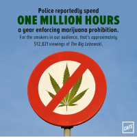 """Police, Tumblr, and Blog: Police reportedly spend  ONE MILLION HOURS  a year enforcing marijuana prohibition.  For the smokers in our audience, that's approximately  512,821 viewings of The Big Lebowski.  CAFE <p><a href=""""http://t2.cafe.com/post/160737277655/disgraceful"""" class=""""tumblr_blog"""">cafe-dot-com</a>:</p> <blockquote><p>Disgraceful.</p></blockquote>"""