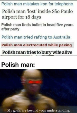 Proud of my country: Polish man mistakes iron for telephone  Polish man 'lost' inside São Paulo  airport for 18 days  Polish man finds bullet in head five years  after party  Polish man tried rafting to Australia  Polish man electrocuted while peeing  Polish man tries to bury wife alive  Polish man:  My goals are beyond your understanding. Proud of my country