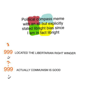 AITA for making clearly biased political compasses: Political compass meme  with an all but explicitly  stated libright bias since  Iam in fact libright  999 LOCATED THE LIBERTARIAN RIGHT WINGER  999  ACTUALLY COMMUNISM IS GOOD AITA for making clearly biased political compasses
