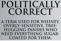 Right!: POLITICALLY  CORRECT  A TERM USED FOR WHINEY,  OVERLY-SENSITIVE, TREE-  HUGGING PANSIES WHO  NEED EVERYTHING SUGAR  COATED FOR THEM Right!