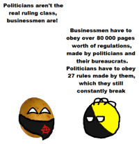 Break, The Real, and Anarchyball: Politicians aren't the  real ruling class,  businessmen are!  Businessmen have to  obey over 80 000 pages  worth of regulations,  made by politicians and  their bureaucrats.  Politicians have to obey  27 rules made by them,  which they still  constantly break Svetoslav Svetlozarov