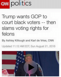 Dank, Politics, and Black: politics  CNN Trump wants GOP to  court black voters then  slams voting rights for  felons  By Ashley Killough and Karl de Vries, CNN  Updated 11:12 AM EDT Sun August 21, 2016 Just imply blacks are felons and then accuse Trump and conservatives of being racist!