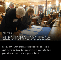 College, Hillary Clinton, and Memes: POLITICS  ELECTORAL COLLEGE  Dec. 19 l America's electoral college  gathers today to cast their ballots for  president and vice president. The electoral college (consisting of 538 electors in 50 states and DC) is expected to officially cast state ballots from Election Day today and is widely expected to name Republican Donald Trump as the next president. The official announcement won't come until January 6 when the house gathers to hear the state results in alphabetical order. _ Trump's loss of the popular vote to Hillary Clinton and recent findings by U.S. intelligence agencies that Russian hackers worked to undermine Clinton's campaign have increased the focus on today's event. Some electors whose districts were won by Trump, have publicly stated they will not cast their vote for the president elect given these circumstances.