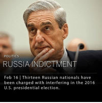 "Donald Trump, Memes, and Politics: POLITICS  RUSSIAINDICTMENT  Feb 16 | Thirteen Russian nationals have  been charged with interfering in the 2016  U.S. presidential election. A grand jury enlisted by special counsel Robert Mueller has indicted 13 Russian nationals and three Russian businesses with interfering in the 2016 U.S. presidential election. The charges against the defendants allege conspiracy to defraud the U.S, including using social media platforms to sow political discord in support of President Donald Trump's candidacy. ____ Deputy Attorney General Rod J. Rosenstein reminded that ""there is no allegation in this indictment that any American had any knowledge."" Rosenstein also noted that the charges do not allege this operation affected the outcome of the presidential election. ___ The indictment says, ""Some defendants, posing as U.S. persons and without revealing their Russian association, communicated with unwitting individuals associated with the Trump Campaign and with other political activists to seek to coordinate political activities."" ____ Photo: AP 