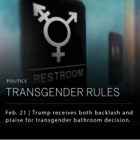 "President Donald Trump's administration formally withdrew guidance that allowed transgender school children to use the bathrooms that correspond with their gender identity. The decision overruled his own education secretary and inserted him in the middle of a contentious debate about transgender rights. _ The Trump administration rescinded the guidance, stating that it was improperly and arbitrarily devised, ""without due regard for the primary role of the states and local school districts in establishing educational policy."" Sarah McBride, a spokeswoman for the Human Rights Campaign said ""this should serve as a clear sign that every single person needs to stand up for LGBTQ people and transgender kids in particular."": POLITICS  TRANSGENDER RULES  Feb. 21 Trump receives both backlash and  praise for transgender bathroom decision. President Donald Trump's administration formally withdrew guidance that allowed transgender school children to use the bathrooms that correspond with their gender identity. The decision overruled his own education secretary and inserted him in the middle of a contentious debate about transgender rights. _ The Trump administration rescinded the guidance, stating that it was improperly and arbitrarily devised, ""without due regard for the primary role of the states and local school districts in establishing educational policy."" Sarah McBride, a spokeswoman for the Human Rights Campaign said ""this should serve as a clear sign that every single person needs to stand up for LGBTQ people and transgender kids in particular."""