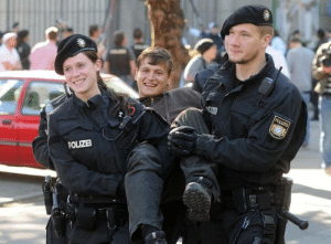 The ridiculously photogenic german police and protester: POLIZE  POLIZEI The ridiculously photogenic german police and protester