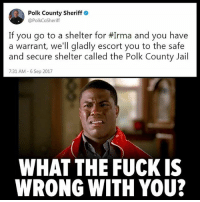 Facts, Instagram, and Jail: Polk County Sheriff  @PolkCoSheriff  If you go to a shelter for #Irma and you have  a warrant, we'll gladly escort you to the safe  and secure shelter called the Polk County Jail  7:31 AM-6 Sep 2017  WHAT THE FUCK IS  WRONG WITH YOU? Go follow the biggest anonymous page on Instagram!! @anonymous_truthseeker They post anything from corruption to health facts and much more! 📚👇Follow👇📚 @anonymous_truthseeker 📚 @anonymous_truthseeker 📚 @anonymous_truthseeker 📚 @anonymous_truthseeker 📚 Also follow the backup! @anon_truthseeker 📚 @anon_truthseeker 📚