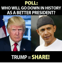 Who do you think history will judge as a better president, Obama or Trump?  There Is PANIC In The Diabetes Industry! Big Pharma executives can't believe their eyes. SEE WHY CLICK HERE ►► http://u-read.org/no-diabetes: POLL:  WHO WILL GO DOWN IN HISTORY  AS A BETTER PRESIDENT?  TRUMP SHARE! Who do you think history will judge as a better president, Obama or Trump?  There Is PANIC In The Diabetes Industry! Big Pharma executives can't believe their eyes. SEE WHY CLICK HERE ►► http://u-read.org/no-diabetes