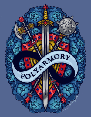 foxflightstudios:  PROUDLY presenting the newest addition to the Armory: A MUCH requested design that I was finally able to tackle: Polyarmory! (Polyamory. Weapons. Get it? I'm hilarious)I used multiple weapons that appear elsewhere in the Armory to represent as many people as possible, as long as a shield for unity! I incorporated the infinity sign that's sometimes on the flag into the ribbon. This flag was challenging color-wise but I'm very happy with what I was able to do with it!You can get this design at redbubble here and pin preorders will be coming eventually if the response is good! :) Let me know what you think of my puns. : POLYARMOR  Fox FLEGHTSTUOI  (X foxflightstudios:  PROUDLY presenting the newest addition to the Armory: A MUCH requested design that I was finally able to tackle: Polyarmory! (Polyamory. Weapons. Get it? I'm hilarious)I used multiple weapons that appear elsewhere in the Armory to represent as many people as possible, as long as a shield for unity! I incorporated the infinity sign that's sometimes on the flag into the ribbon. This flag was challenging color-wise but I'm very happy with what I was able to do with it!You can get this design at redbubble here and pin preorders will be coming eventually if the response is good! :) Let me know what you think of my puns.