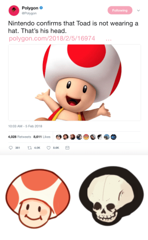 Head, Life, and Nintendo: Polygon  Following  @Polygon  Nintendo confirms that Toad is not wearing a  hat. That's his head.  polygon.com/2018/2/5/16974  10:03 AM - 5 Feb 2018  4,028 Retweets 8,611 Likes yellingplant:  bleeding-salamander:  yellingplant:  busket:  rezpiral:  yellingplant:  so uh ,,   Hey, this is the scariest thing I've seen thanks.  yall act like you've never seen a mushroom before inside toad's head is an hollow cavern circling his face which contains those gills (the light brown ribbed things). when he gets old, his head will open up and flare out like a sombrero, and release the spores held in the gills on the underside of the cap. and then he'll die toads in various stages of life:  IM REALLY NOT SURE IF THIS IS ANY BETTER  I reblogged this a few days ago, but I woke up in a cold sweat to draw this  OH NO   So uh anyone want to tell tumblr about Plants vs Zombies?Have at it