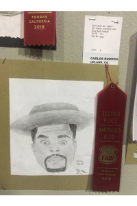 2nd place?!?! He got robbed this is a masterpiece and he's in 8th grade! It's rigged!! https://t.co/cc8xx3Adlb: POMONA  CALIFORNIA  3237 3237 Art Teen 1  05 Pencil, including color  King Bach Portrait  Ex. ID 701  Ent No 3521  2018  Grade 8  CARLOS ROMERO  UPLAND, c  SECOND  PLACE  AMERICA'S  FAIR  Yino  Bach  POMONA  CALIFORNIA  2018 2nd place?!?! He got robbed this is a masterpiece and he's in 8th grade! It's rigged!! https://t.co/cc8xx3Adlb