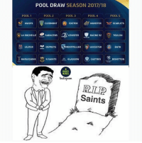 Memes, New Orleans Saints, and Pool: POOL DRAW SEASON 2017/18  POOL 1  POOL 4  POOL 2  POOL 3  POOL 5  MUNSTER ng  SCARLETS  WASPS  CLERMONT EXETER  LA ROCHELLE  SARACENS 2 LEINSTER RACING 92 TOULON  ULSTER o  MONTPELLIER LEICESTER  BATH  HARLEQUINS  N SAINTS  BENETTON  RUGBY  MEMES  Instagnant  RITUD  Saints Tough pool 😂😔 rugby northamptonsaints championscup