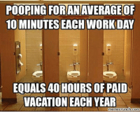 Memes, 🤖, and  Year: POOPING FORANAVERAGE OF  10 MINUTES EACH WORKDAY  EQUALS40 HOURS OF PAID  VACATION EACH YEAR  meme crunch Com