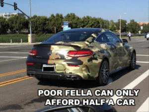 Funny, Memes, and Fella: POOR FELLA CAN ONLY  AFFORD HALF A CAR Funny Memes Of The Day 33 Pics