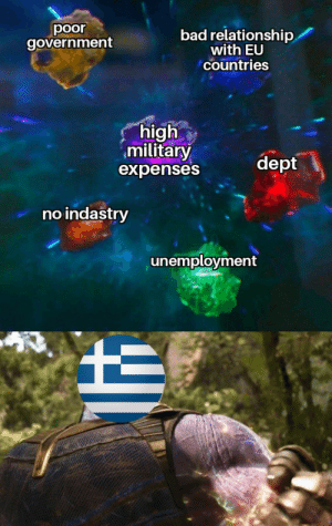 Bad, History, and Military: poor  government  bad relationship  with EU  Countries  high  military  expenses  dept  no indastry  unemployment This was made by a Greek so no hate