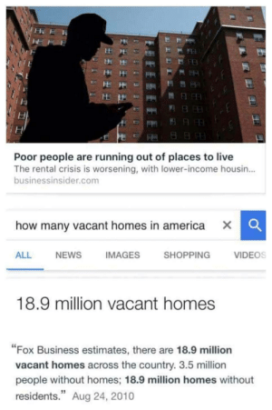 "America, Fucking, and News: Poor people are running out of places to live  The rental crisis is worsening, with lower-income housin...  businessinsider.com  how many vacant homes in america X  CC  ALL  NEWS  IMAGES  SHOPPING  VIDEOS  18.9 million vacant homes  ""Fox Business estimates, there are 18.9 million  vacant homes across the country. 3.5 million  people without homes; 18.9 million homes without  residents."" Aug 24, 2010 femoids: Capitalism is literally the most nonsensical and inefficient system ever. Like how is this a fucking problem. Scarcity exists where it shouldn't"