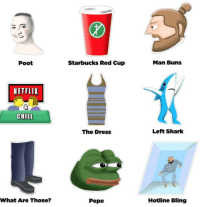 Dank, 🤖, and Red: Poot  NETFLIX  CHILL  What Are Those?  Starbucks Red Cup  The Dress  Pepe  Man Buns  Left Shark  Hotline Bling 2015 so far http://9gag.com/gag/a8jRE9d?ref=fbp