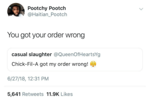 Chick-Fil-A, Dank, and Memes: Pootchy Pootch  @Haitian_Pootch  You got your order wrong  casual slaughter @QueenOfHeartsYg  Chick-Fil-A got my order wrong!  6/27/18, 12:31 PM  5,641 Retweets 11.9K Likes Apologize to Chick-Fil-A by HRMisHere FOLLOW HERE 4 MORE MEMES.