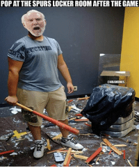 POP AT THE SPURS LOCKER ROOM AFTER THE GAME  @NBAMEMES Pop in the locker room after blowing a 19-point lead to the Warriors. #Spurs Nation