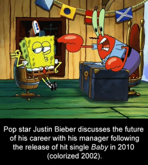 Future, Justin Bieber, and Pop: Pop star Justin Bieber discusses the future  of his career with his manager following  the release of hit single Baby in 2010  (colorized 2002). Justin Bieber discusses career with manager