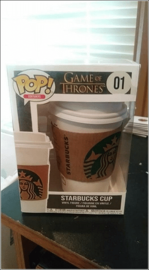 Pop, Starbucks, and Pictures: POP!  THRONES 01  CONTAINERS  STARBUCKS CUP  VINYL FIDURE/FIGURINE EN VINYLE  FIGURA DE VINIL  AE E M A ADVERTENCIA O CA  STARBUCKS 78 Random Pictures Of The Day