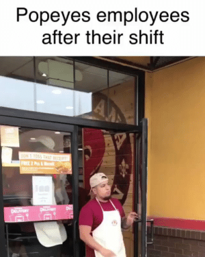 Bruh...😳😩😂 @MikeRuga #Popeyes https://t.co/x65efpIEcW: Popeyes employees  after their shift  A  ON T TOSS THAT RECEIPT  FRE 2 P&  DEL  DLIVERY  p VERY Bruh...😳😩😂 @MikeRuga #Popeyes https://t.co/x65efpIEcW