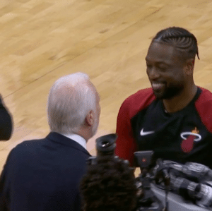 Dwyane Wade, Manu Ginobili, and Memes: Popovich gave Dwyane Wade a gift of signed Tim Duncan, Manu Ginobili and Tony Parker jerseys 🙌