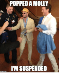 Molly, Nfl, and Pop: POPPED A MOLLY  IM SUSPENDED  imgflip com Pop A Molly!