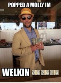 Memes, Molly, and Wes Welker: POPPED A MOLLY IM  WELKIN a Bla Bla Wes Welker be like....