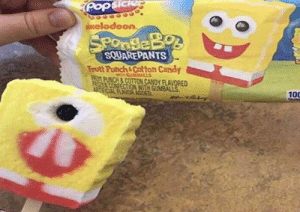 Spongebob really be out here promoting the Jedi. What a trooper: Popsiciep  ocelodeon.  SPonSeBo  SQUAREPANTS  Frutt Punch&Cotton Candy  MIGUNBALS  PUNCH&COTTON CANDY FLAVORED  CONFECTIONWITH GUMBALLS.  AEAL FLAVOR ADED  100 Spongebob really be out here promoting the Jedi. What a trooper