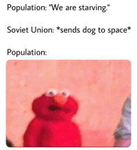 "Space, Soviet, and Soviet Union: Population: ""We are starving.""  Soviet Union: *sends dog to space*  Population: woof comrade"