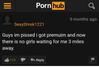 Im Pissed: Porn hub  9 months ago  SexyShrek1221  Guys im pissed i got premuim and now  there is no girls waiting for me 3 miles  away.  12  Reply