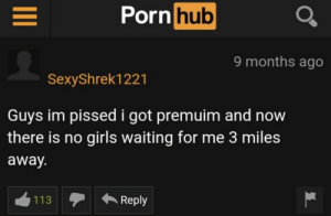 Im Pissed: Porn hub  9 months ago  SexyShrek1221  Guys im pissed i got premuim and now  there is no girls waiting for me 3 miles  away.  113Reply